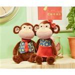 Metoo45cm紅藍衣情侶猴坐姿玩偶-男