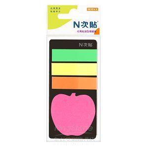 【N次貼】可再貼造型便籤組(蘋果+3色標籤)