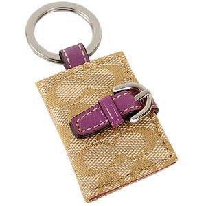 COACH 緹花織布相片鑰匙圈(卡其粉紫)