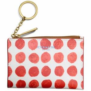 COACH新款水彩圓點PVC方型鑰匙零錢包-桔紅/白