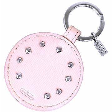 COACH 防刮皮革鉚釘貼飾隨身鏡鑰匙圈~粉紅