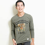 ibs 老虎圖騰創意T恤-男-墨綠