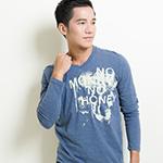 ibs 創意圖騰印花T恤-男-藍