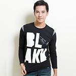 ibs 創意文字印花T恤-男-黑
