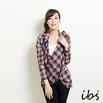 ibs 多造型穿搭格紋長襯衫-女-紅黑灰格