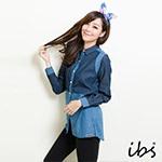 ibs 牛仔長版襯衫-女-藍