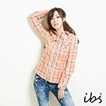 ibs 經典格紋襯衫-女-粉橘