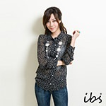 ibs 雪紡點點襯衫-女-黑