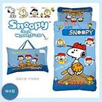 《SNOOPY》史努比幼教兒童睡袋-棒球篇 粉藍(4X5尺)
