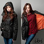ibs機能防風長版綁帶外套-黑橘