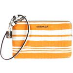 COACH編織橙白條紋全皮萬用手拿包
