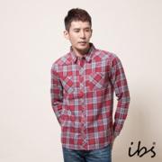 ibs 法蘭絨格紋襯衫(男/紅)