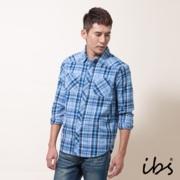ibs 法蘭絨格紋襯衫(男/藍)
