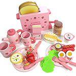 吐司麵包木製玩具家家酒組附木製麵包機一台(可活動)