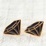 鑽石造型耳針式耳環‧親愛的DEAR