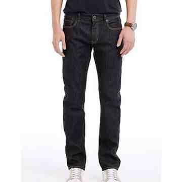 【A/X】阿瑪尼時尚水洗深靛藍低腰直筒牛仔褲