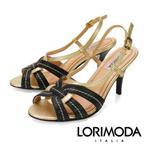 【LORIMODA】義大利手工鞋  皮革雙色細帶高跟涼鞋TARANTO.20(金色)
