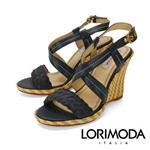 【LORIMODA】義大利手工鞋  交叉背帶高跟涼鞋楔型防FERRARA.15(深藍色)
