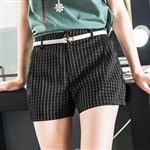 ROUAN 顯瘦風格紋休閒短褲/西裝短褲