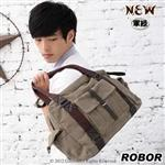 韓系型男 ROBOR紐約學院風側背/手提/斜背三用包(軍綠)