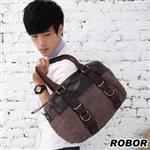 韓系型男 ROBOR典雅百搭側背/手提/斜背三用包(咖色)