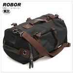 韓系型男 ROBOR衝鋒時尚多功能帆布筆電後背包/旅行袋(黑灰)