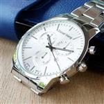 【Daniel Wang】時尚大錶面三眼指針錶-銀