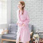 CoFeel精選 舒適法蘭絨綁帶睡袍/浴袍-粉色