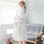CoFeel精選 舒適法蘭絨綁帶睡袍/浴袍-白色