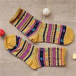 雪花圖騰(黃)卷邊中筒襪-韓國KIKI