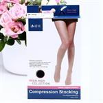 【緹絲健康襪】280D 西德棉材質小腿襪(中壓),顏色:黑 (露趾), 1組5雙