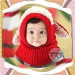 【摩達客】兒童幼兒羊咩咩大耳毛線帽脖圍連體帽(紅色)