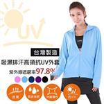 MI MI LEO台灣製抗UV防曬吸排外套-水藍M