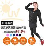 MI MI LEO台灣製抗UV防曬吸排外套- 黑色L