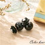 【卡樂熊】夜露玫瑰珍珠泡泡糖大力丸耳環-黑色