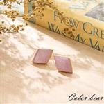 【卡樂熊】優雅細緻金邊菱形寶石耳環-亮粉色