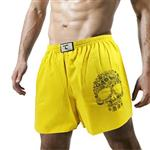 【天皇】舒適悠閒-花花骷髏平口褲-黃色
