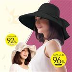 日本sunfamily 抗UV多機能造型寬緣名媛帽(黑)