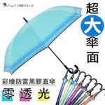 【雙龍牌】49吋彩繪防雷黑膠自動直傘(湖水藍下標區)-不透光玻璃纖維晴雨傘抗UV防風A6283