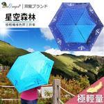 【雙龍牌】星空森林超輕量防風色膠三折傘(海軍藍下標區)-降溫抗UV防曬B1530H