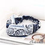 【卡樂熊】古典青花瓷變形蟲鬆緊交叉髮帶-藍色