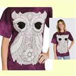 【摩達客】(預購) 美國進口ColorWear 三號貓頭應 禪繞畫療癒藝術 環保短袖T恤