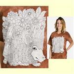 【摩達客】(預購) 美國進口ColorWear 刺蝟 禪繞畫療癒藝術 環保短袖T恤