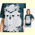 【摩達客】(預購) 美國進口ColorWear 貓頭鷹小倆口 禪繞畫療癒藝術 環保短袖T恤