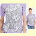 【摩達客】(預購) 美國進口ColorWear 花草象 禪繞畫療癒藝術 環保短袖T恤