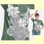 【摩達客】(預購) 美國進口ColorWear 花與鹿 禪繞畫療癒藝術 環保短袖T恤