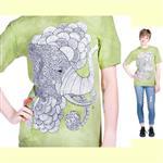 【摩達客】(預購) 美國進口ColorWear 印度象之夢 禪繞畫療癒藝術 環保短袖T恤