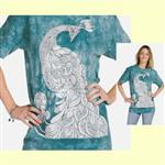 【摩達客】(預購) 美國進口ColorWear 孔雀 禪繞畫療癒藝術 環保短袖T恤