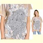 【摩達客】(預購) 美國進口ColorWear 花草河馬 禪繞畫療癒藝術 環保短袖T恤