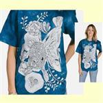 【摩達客】(預購) 美國進口ColorWear 花草金魚 禪繞畫療癒藝術 環保短袖T恤